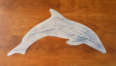 Large Dolphin Wall Hanging, Chalk Paint on Reclaimed Wood Ann DeMuth