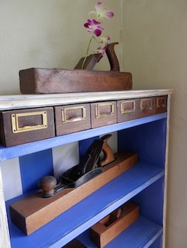 Bookcase with Reclaimed Wooden Drawers, Pine & Chalk Paint Ann DeMuth