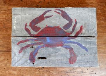Rustic Crab, Chalk Paint on Reclaimed Wood Ann DeMuth