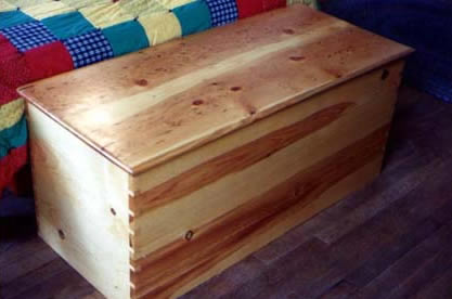 blanket chest with handcut dovetails by Ann DeMuth