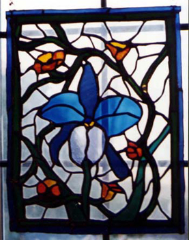 blue iris stained glass by Ann DeMuth