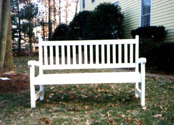 wood garden bench by Ann DeMuth