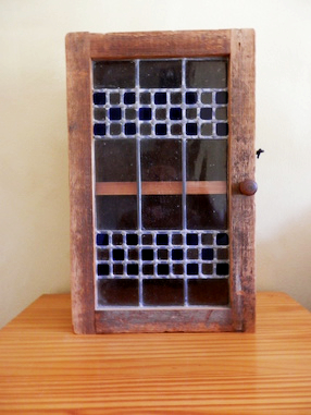 rustic wood stained glass cupboard by Ann DeMuth