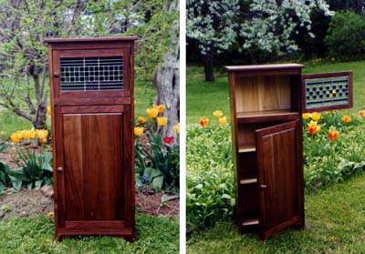 walnut wood with stained glass jellycupboard by Ann DeMuth